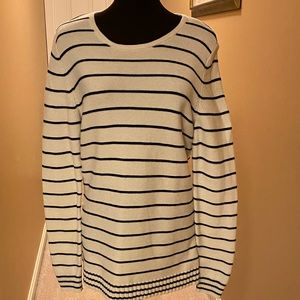 Talbots black/cream striped sweater size M